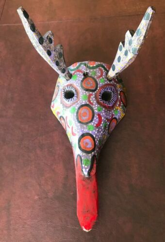 Guatemalan Colorful Dance Mask Hand painted and carved