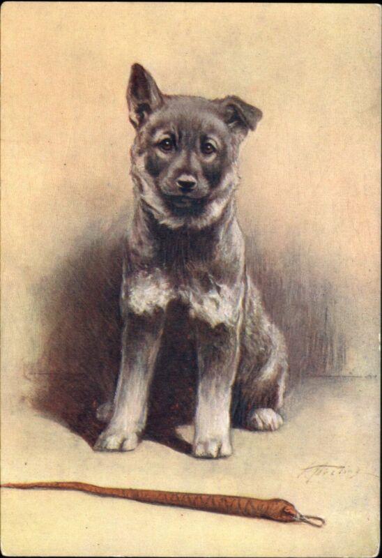 ELKHOUND dog ~ De Reszke Cigarette advertising postcard~artist signed Aveline