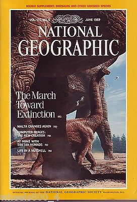National Geographic June 1989 Dinosaurs Extinctions Malta Computer Graphics