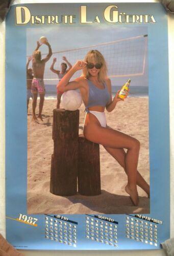 Vintage Beer Poster Miller High Life Sexy Volleyball Disfrute La Guerita 1987 !!