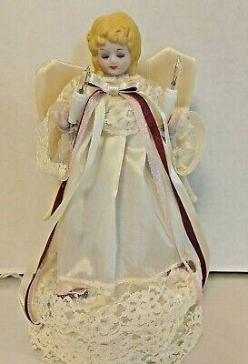 Angel Christmas Tree Topper Vintage Lighted Porcelain Head Angel