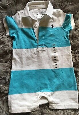 Ralph Lauren Infant Cotton Romper White Aqua Blue Stripe Unisex 6 Month