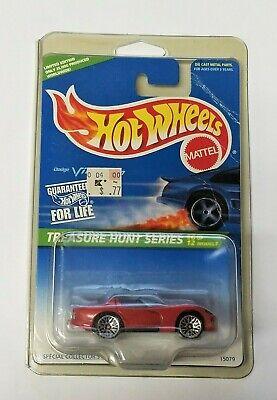 Hot Wheels 1996 Treasure Hunt Dodge Viper RT/10 Red Car 6/12 NOC In Protector