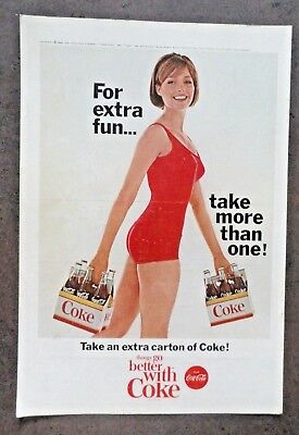 1965 Coca Cola COKE Ad - Red Swimsuit - take more than one