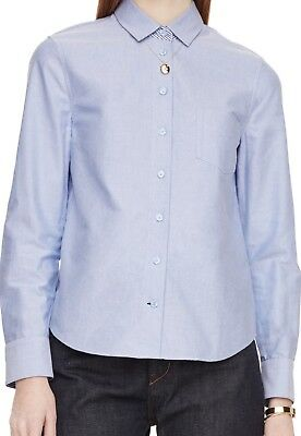 Kate Spade Broome Street Womens XS Long Sleeve Smart Oxford Shirt Blue $128 NWT (Womens Broome)