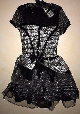 girl NEW NWT black sparkle silver ROCK STAR WITCH HALLOWEEN COSTUME DRESS - Rock Star Costume Girl