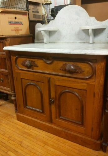 EARLY ANTIQUE COTTAGE WASHSTAND CABINET MARBLE TOP w/ CARVED LEAF DRAWER PULLS