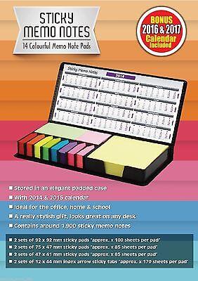 Sticky Memo Post It Note Calendar Set Faux Leather Case Planner Inc 2014 -17