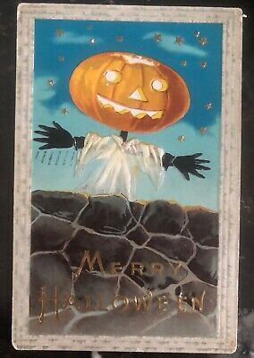 1912 Marshall Town IA Usa Picture Postcard PPC Cover Merry Halloween Pumpkin