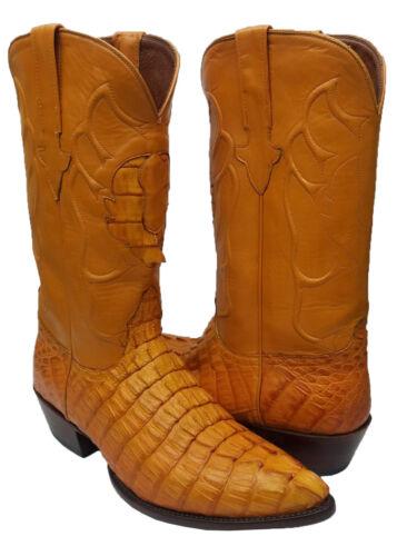 Mens, Orange, Crocodile, Tail, Exotic, Skin, Western, Cowboy, Boots, Point, J, Toe, Size, 10