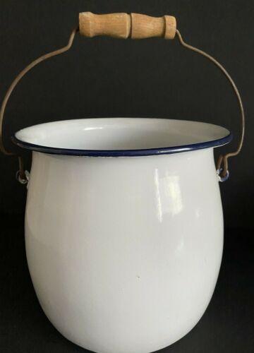 Vintage Large White Enamel Chamber Pot With Wood Handle