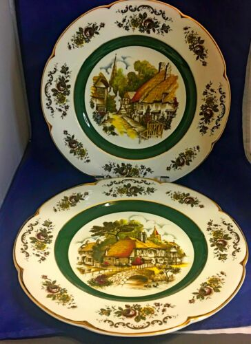 """English village 2 vintage Ascot 10 5/8"""" Service plates wall decor by Wood & Sons"""