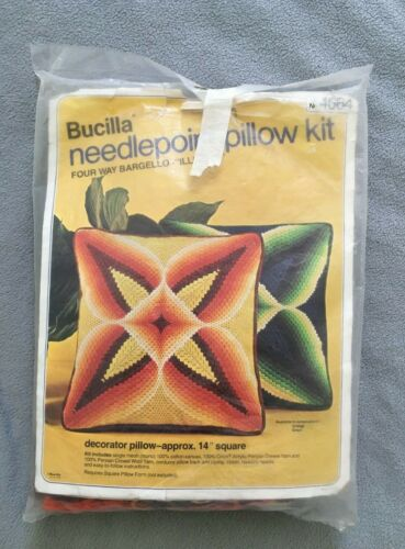 Vintage Bucilla Needlepoint pillow kit 4664 UNUSED FOUR WAY BARGELLO ILLUSION