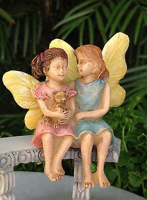 Miniature Dollhouse FAIRY GARDEN ~ Sitting Fairy Sisters ~ NEW