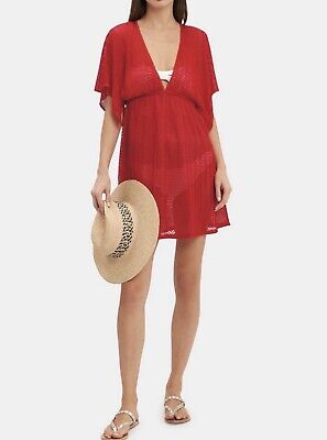 NWT Authentic Missoni Mare Women's Red V-neck Zigzag Short Beach Cover-up 44 IT