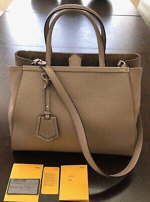 FENDI Tortora Vitello Leather Medium 2Jours Elite Tote Bag