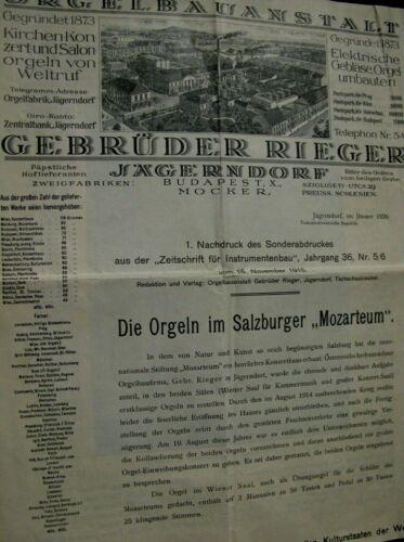 Original Publication, The pipe organ at the Mozarteum in Salzburg 1926