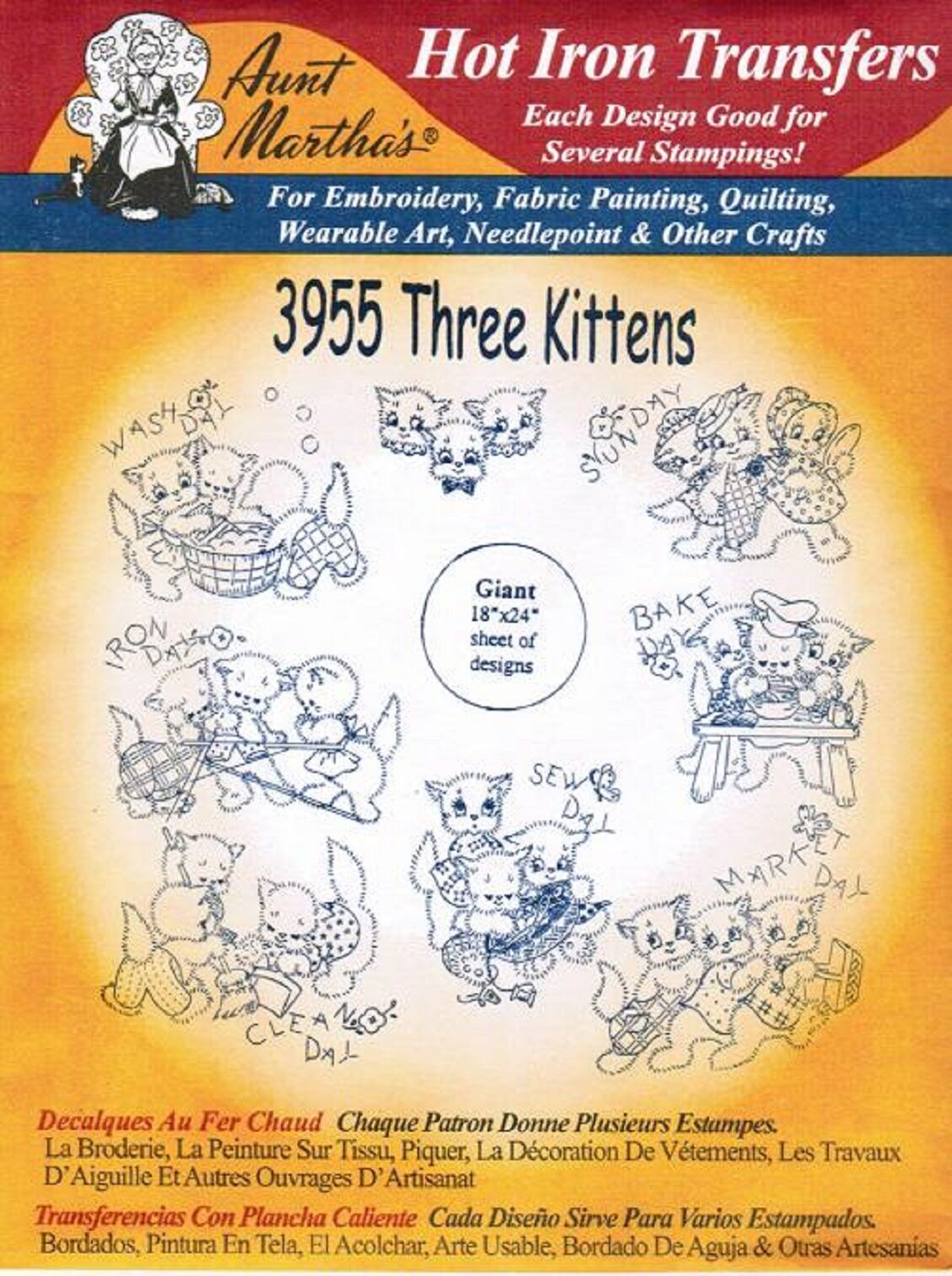 Three kittens aunt martha s hot iron embroidery transfer