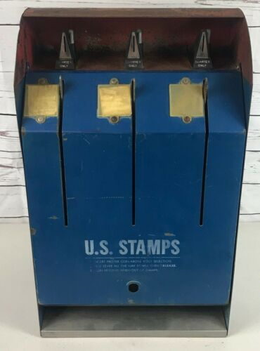 USPS Model S70-2M Postage Stamp Coin Operated 25 Cent Vending Machine RARE Vntg