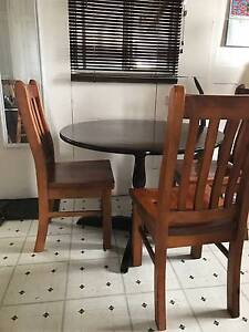 Silky oak dining table and 4xNormandy Timber chairs Harristown Toowoomba City Preview