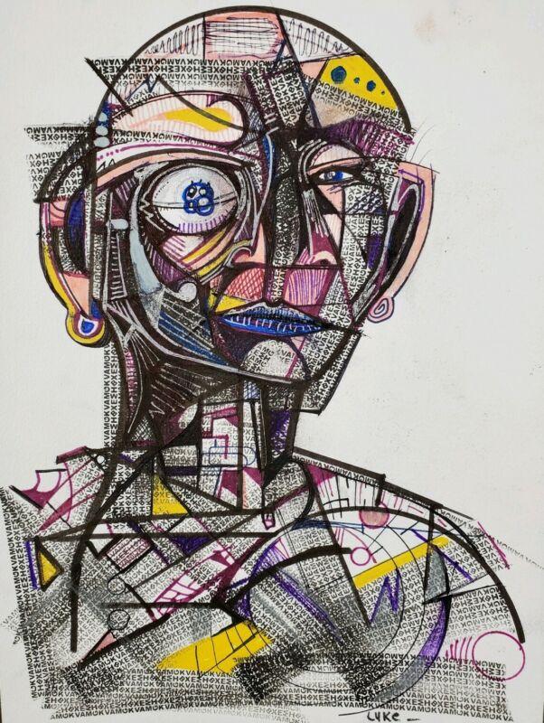 Original Abstract Artwork On Paper By Artist Luke Barosky Signed.
