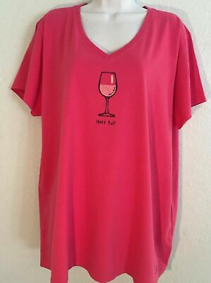 Life is Good Wine Glass Half Full Pink V Neck T Shirt Size 2XL Crusher NWT(70)