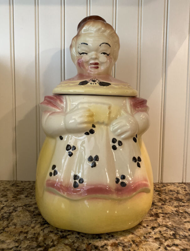 Vintage 1950s American Bisque Pottery Co- GRANNY in Yellow Apron Cookie Jar- USA