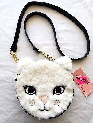 *New Luv Betsey Johnson Black/white Faux Fur Cat Face Round Crossbody Bag* -