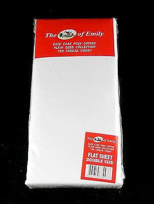 White Flat Sheets Double Bed Size Pack of 2 Polycotton 2 Pack Flat Sheets