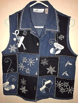 womens size medium BLUE DENIM VEST WINTER CHRISTMAS SNOWMEN BEADS FLAKES MITTENS