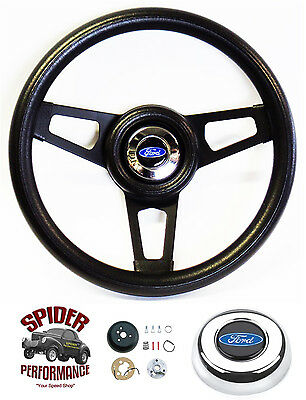 1970-1977 Ford F-Series steering wheel BLUE OVAL 13 3/4 BLACK SPOKE
