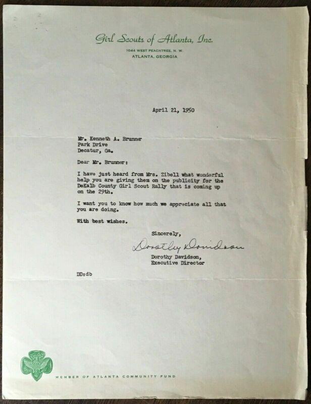 Vtg 1950 Girl Scouts of America Letter Signed by Dorothy Davidson