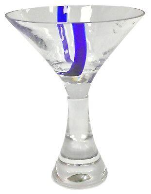 Set 4 Mundgeblasen Martini Cocktailgläser Martini Dickes mit Stiel & Blau Akzent