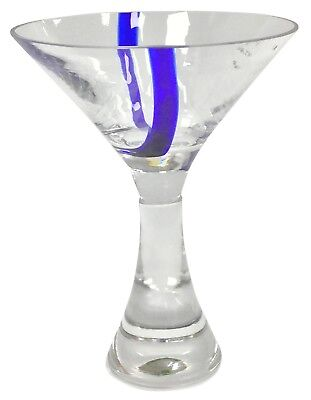 artini Cocktailgläser Martini Dickes mit Stiel & Blau Akzent (Retro Martini-gläser)