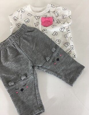 Cat & Jack Infant Outfit Set Girl's 0-3 Months White Gray Outfit with Bears