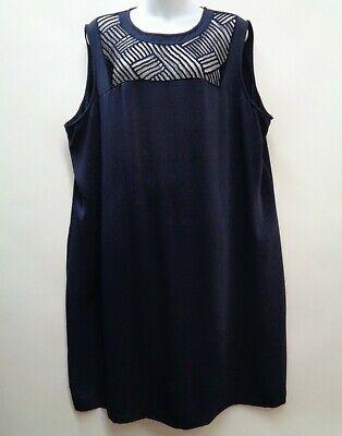 Calvin Klein 20W Blue Dress Shift Sleeveless Sheer Crochet Neckline Plus Womens