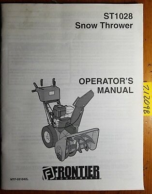 Frontier St1028 Snow Thrower Owners Operators Parts Manual Mtf-031042l