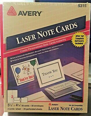 New Avery Note Cards 5 12 X 4 14 Laser Printer 5315 50 Cardsenvelopes
