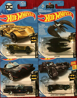 Lot of 4 Hot Wheels Batman Gold Batmobile, Tv Series, Justice League, Batplane!