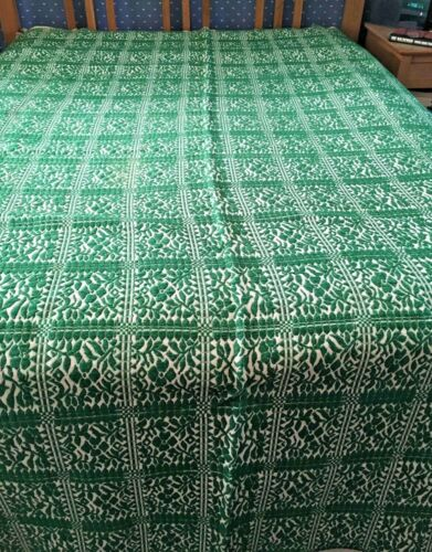 Pre 1900s Antique Kelly Green Jacquard Harness Woven Coverlet