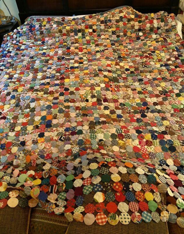 """Vintage Handmade Coverlet YO YO Colorful Floral Yo Yo Blanket Throw 80""""x95"""""""