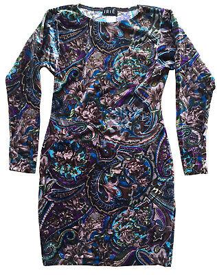 VTG IRIÉ FRANCE Floral Paisley Stretch Velour Body Con Dress from CHARIVARI Sz M