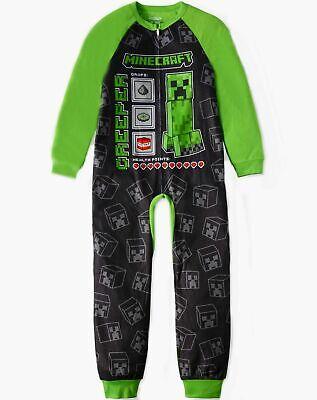 Minecraft Long Sleeve one piece Sleepwear Size 10-12 Pajamas set Child New boy](Minecraft Pajamas Kids)