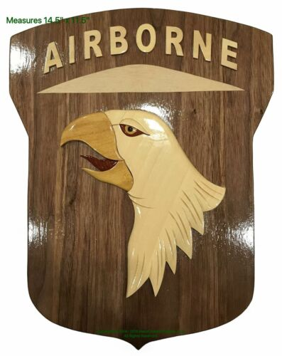 101st AIRBORNE EMBLEM - WOODEN PLAQUE - Handcrafted Wood Art Military Plaque