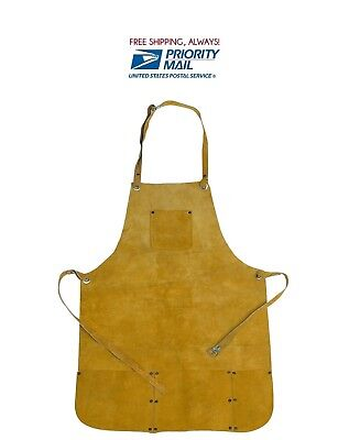 Leather Welding Bib Shop Apron Heat Resistant Blacksmith Mechanic Smock 22x32