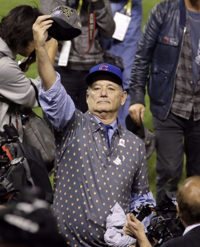 Bill Murray Celebrates Chicago Cubs World Series Win  8x10 Photo Print
