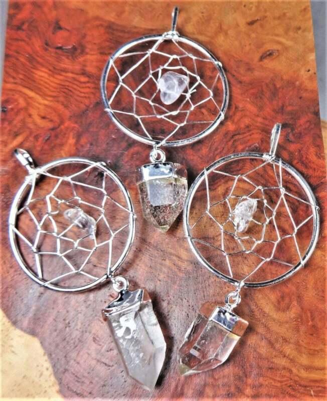 Bulk Wholesale Lot Of 5 Pieces - Dreamcatcher with Quartz Silver Pendant Charm