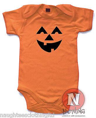Naughtees Clothing Babygrow Scary Pumpkin orange Cotton Halloween Baby suit vest
