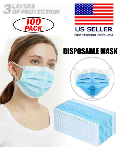 100Pcs Blue Color Face Mask Mouth & Nose Protector Respirator Masks with Filter