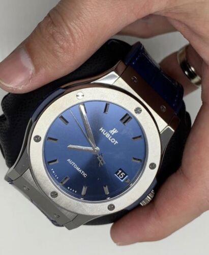 Hublot Classic Fusion Titanium Leather Automatic Blue Men's Watch 511.NX.7170.LR - watch picture 1